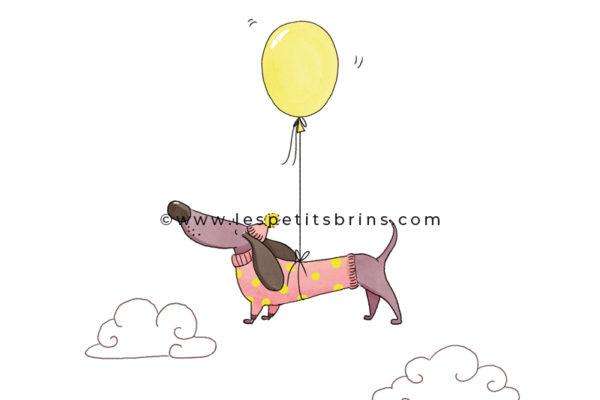 Illustration jeunesse expression illustrée humour prendre de la hauteur - teckel dachshund