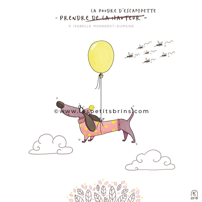 Illustration jeunesse expression illustrée humour prendre la poudre d'escampette - teckel dachshund