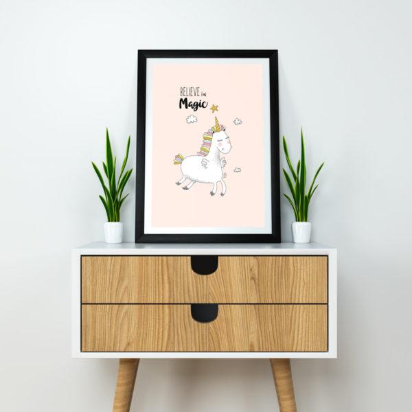 Affiche Licorne Poster décoration chambre enfant bébé