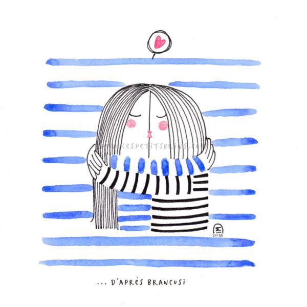 Illustration affiche décoration Constantin Brancusi - The Kiss - Le baiser