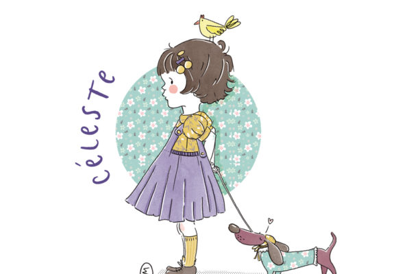 Illustration portrait enfant personnalisé - Vintage - Rétro - Teckel