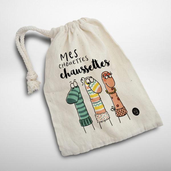 Sac des chaussettes disparues et orphelines - Pochette illustrée