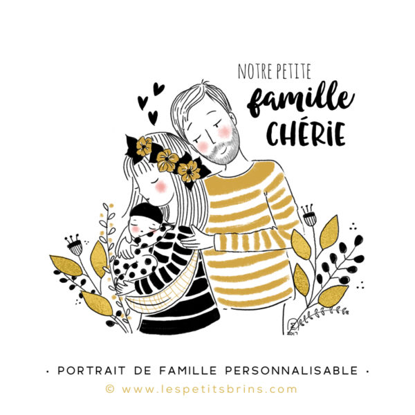 Illustration portrait de famille semi-personnalisable 1 bébé - Gris ardoise