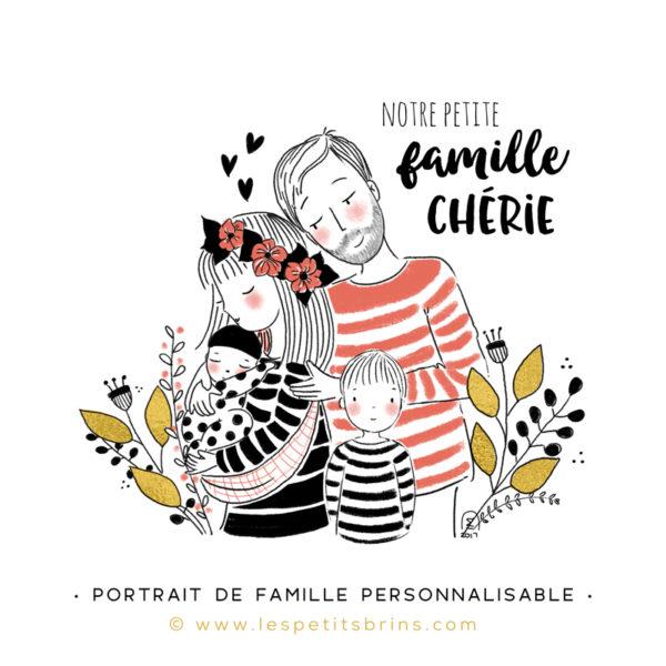 Illustration portrait de famille semi-personnalisable 2 enfants - Rose antique - Fleurs