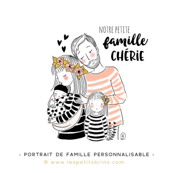 Illustration portrait de famille semi-personnalisable 2 enfants - Rose poudré
