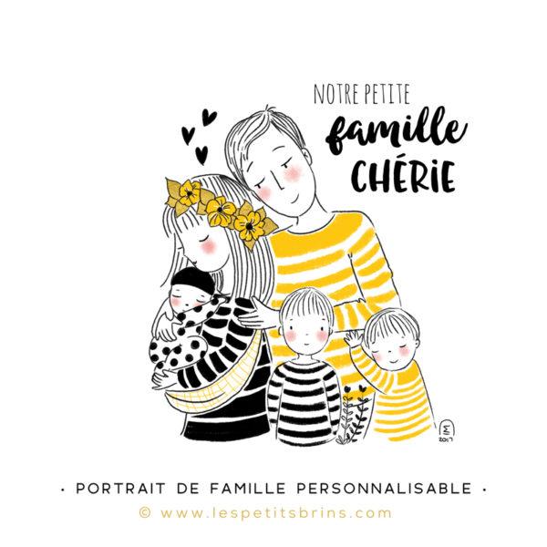 Illustration portrait de famille semi-personnalisable 3 enfants - Jaune