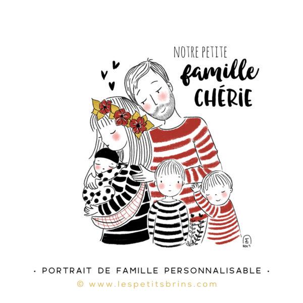 Illustration portrait de famille semi-personnalisable 3 enfants - Rouge brique