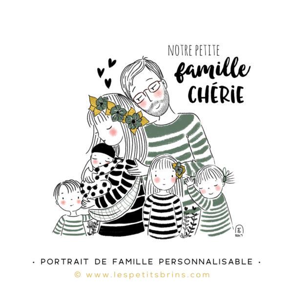 Illustration portrait de famille semi-personnalisable 4 enfants - Eucalyptus