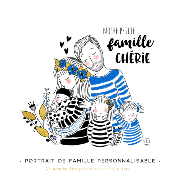 Illustration portrait de famille semi-personnalisable 3 enfants - Mint