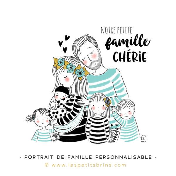 Illustration portrait de famille semi-personnalisable 4 enfants - Mint