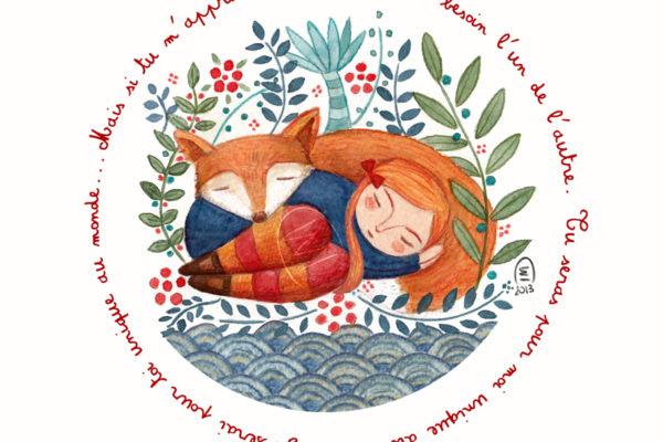 Illustration Petit Prince Renard et petite fille