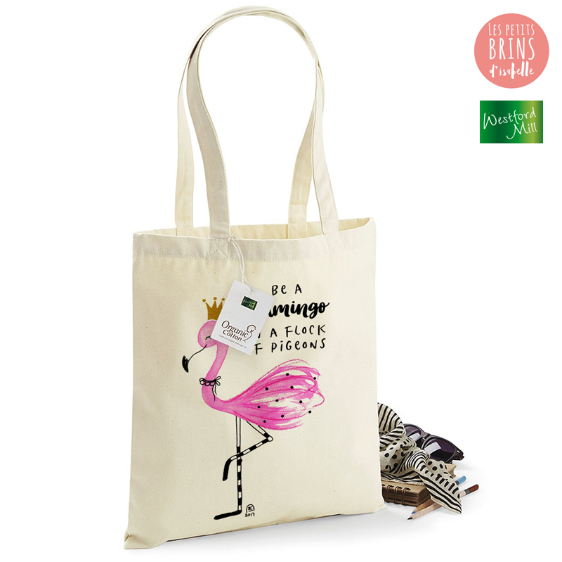 sac tote bag flamant rose flamingo les petits brins d 39 isabelle. Black Bedroom Furniture Sets. Home Design Ideas
