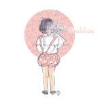 Illustration fillette fleurs portrait personnalisé d'enfant