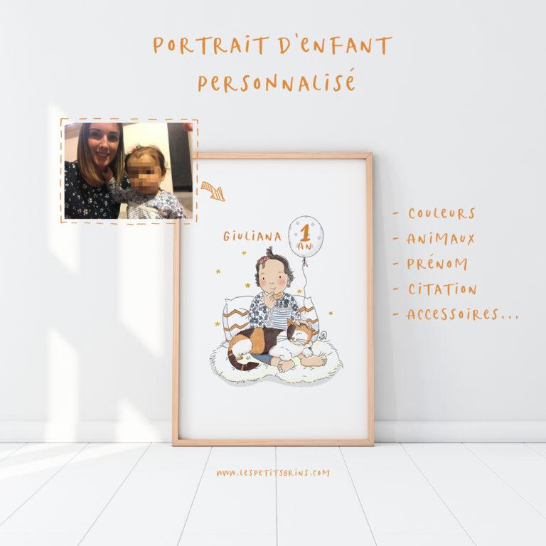 Illustration portrait d'enfant personnalisé illustré