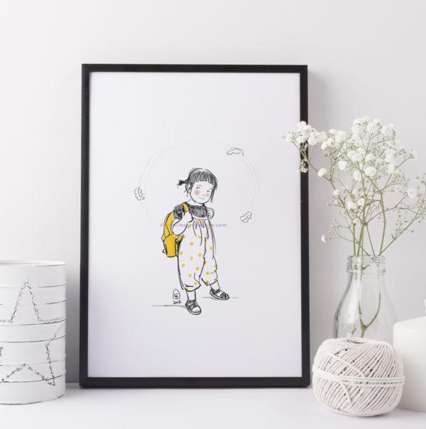 Portrait d'enfant illustré personnalisé - illustratrice dessin