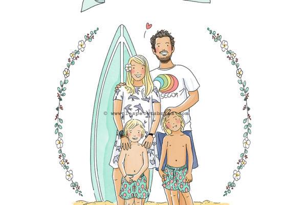 Illustration famille personnalisée - portrait sur illustré