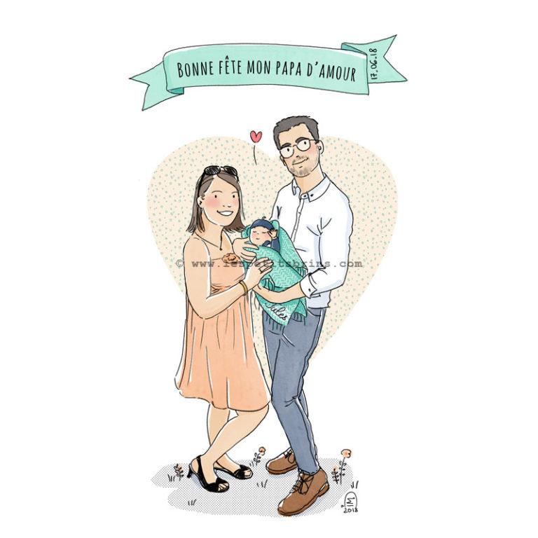 Illustration portrait de famille - Faire-part de naissance - Fête des Pères