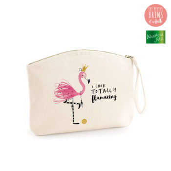 "Pochette zippée illustrée ""I look totally flamazing"" en coton BIO"