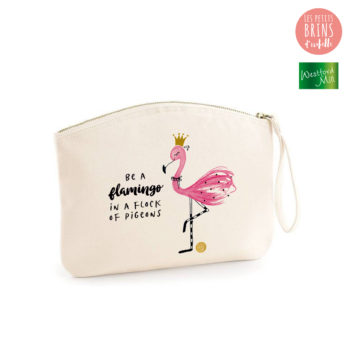 "Pochette zippée illustrée ""Be a flamingo in a flock of pigeons"" en coton BIO"