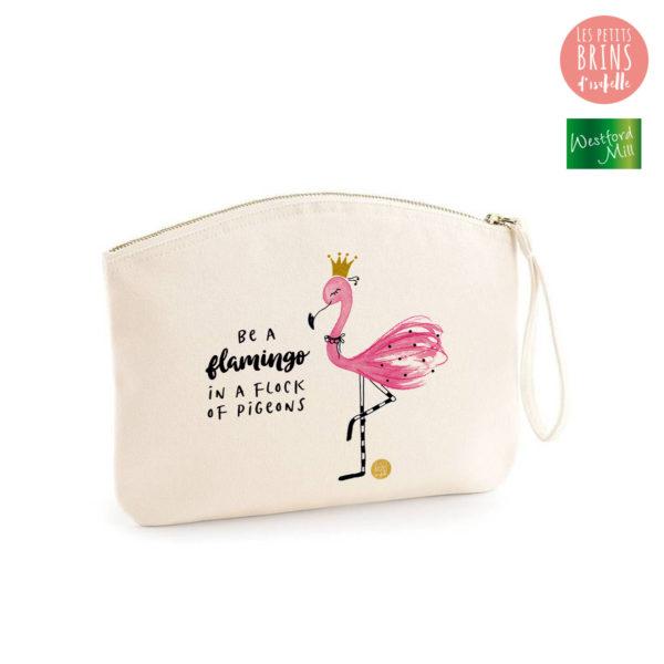 """Pochette zippée illustrée """"Be a flamingo in a flock of pigeons"""" en coton BIO"""