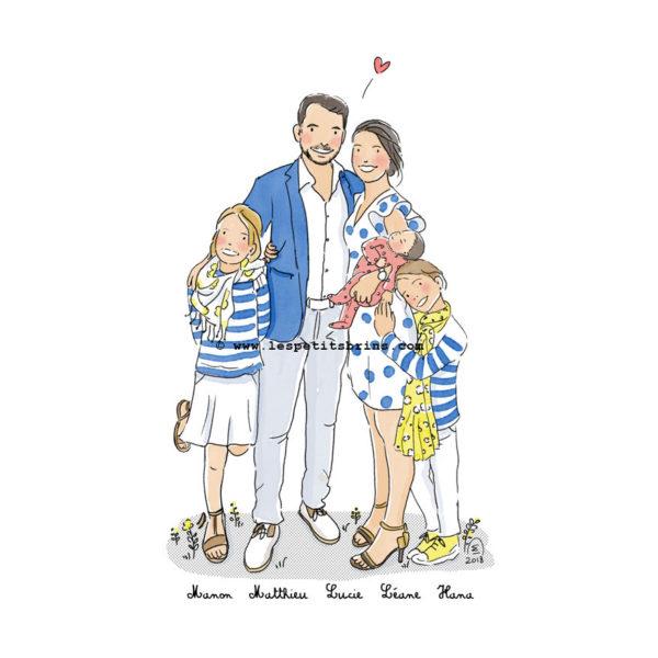 Illustration portrait de famille personnalisé illustré sur mesure - Faire-part de naissance