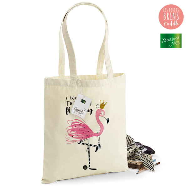 Totebag I look totally flamazing - Flamant Rose