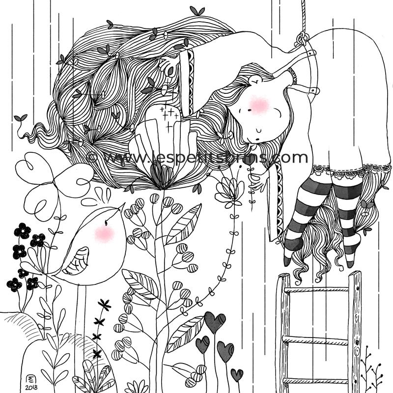 Illustration jeunesse doodle croquis échelle de jacob