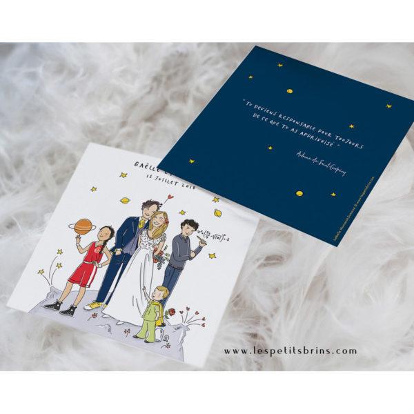 Faire-part de mariage illustré personnalisé illustration
