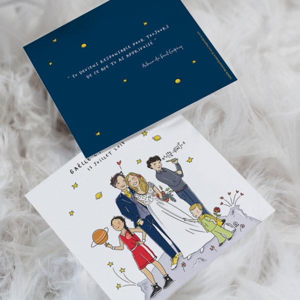 Faire-part de mariage illustré personnalisé