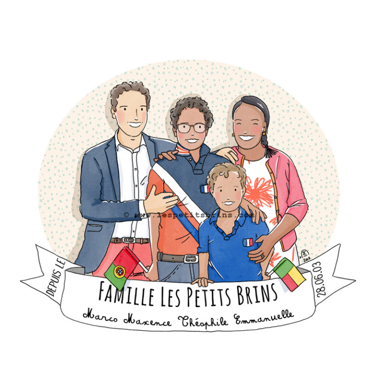 Illustrated portrait famille illustration jeunesse