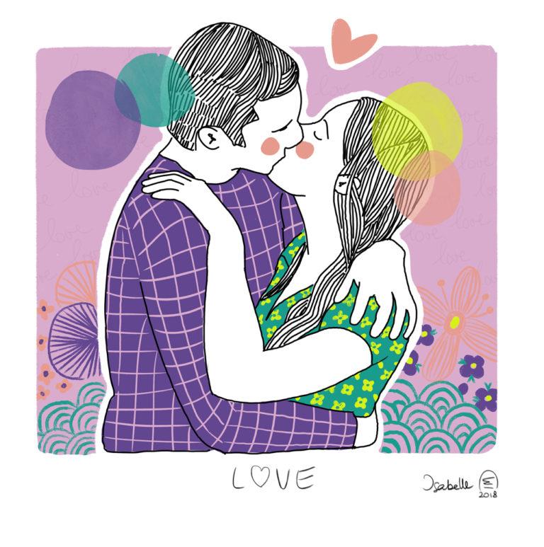 Illustration portrait de couple personnalisé - Love - Baiser