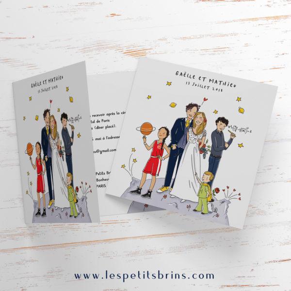 Illustration faire-part de mariage illustré personnalisé