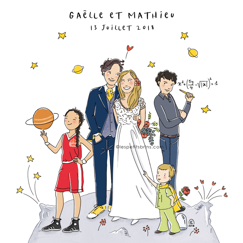 Illustration faire-part de mariage original et illustré