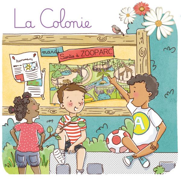 Illustration jeunesse colonie de vacances pour Larousse Mes premières lectures
