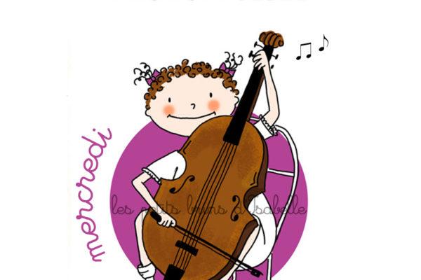 Illustration jeunesse violoncelle - instrument de musique