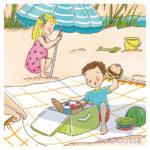 Illustration jeunesse vive l'été - le pique-nique à la plage - LAROUSSE