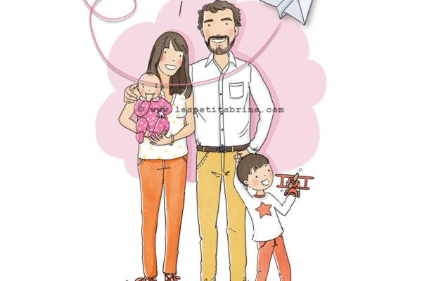 Portrait de famille illustré personnalisé