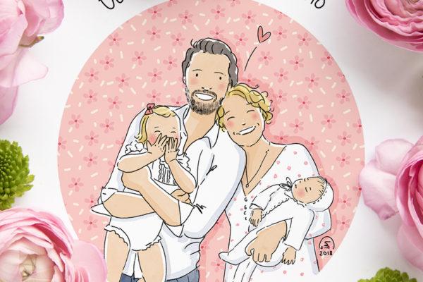 Portrait de famille illustré personnalisé - Faire part de naissance
