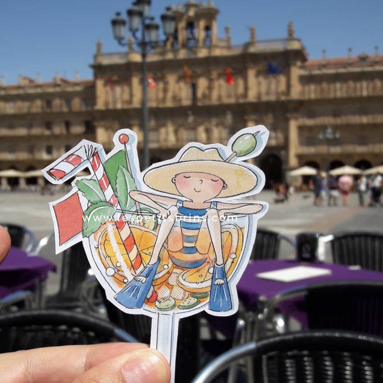Illustration jeunesse apéro Spritz Plaza Mayor Salamanca