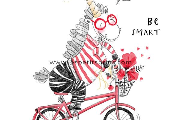 Illustration jeunesse Cheval sur un vélo