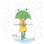 Illustration jeunesse pluie parapluie grenouille