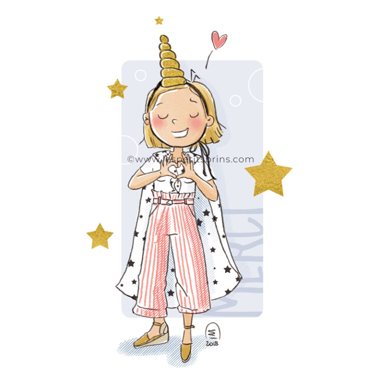 Illustration jeunesse Merci beaucoup mains coeur licorne