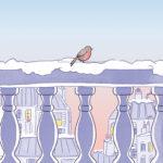 Illustration rouge-gorge-hiver