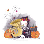 Illustrator nightmare challenge squelette tuba citrouilles illustration jeunesse