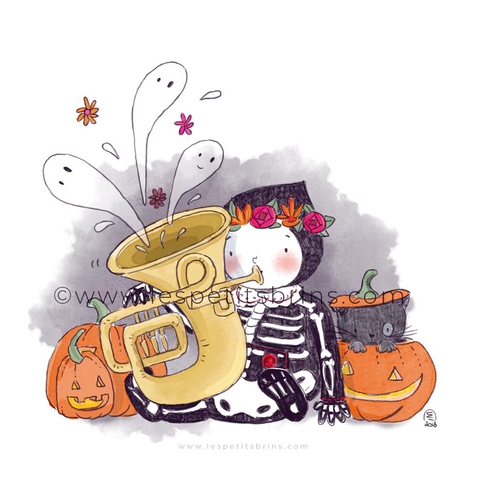 Illustrator nightmare challenge squelette tuba citrouilles illustration jeunesse