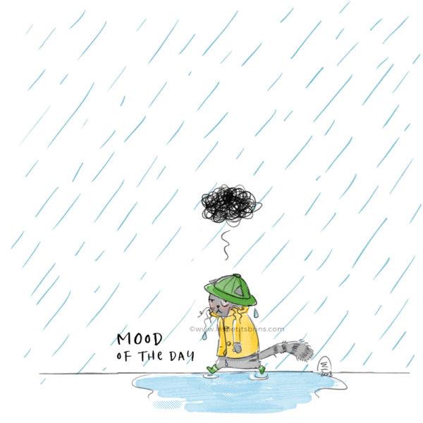 Pluie chat humeur triste illustration jeunesse
