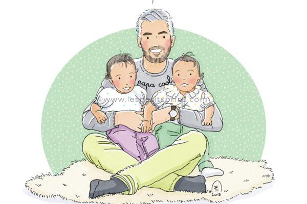 Portrait de famille dessiné personnalisé illustration jumelles jueaux twins