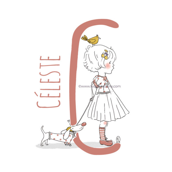 abecedaire-initiale-prenom-enfant-illustration-fille-personnalisable-brique