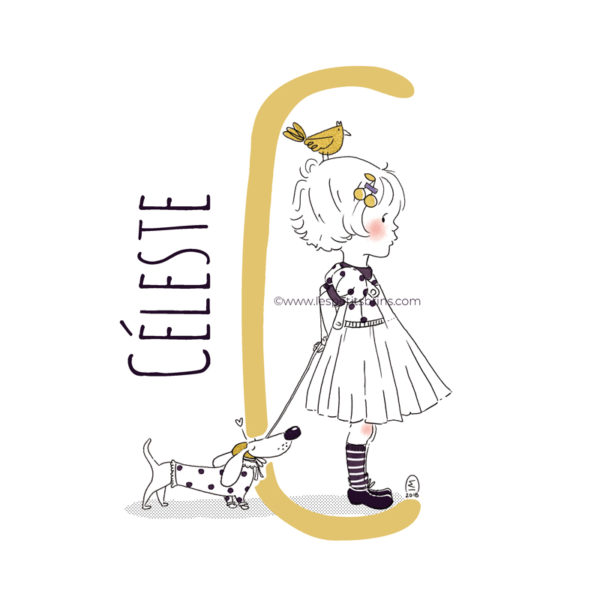 abecedaire-initiale-prenom-enfant-illustration-fille-personnalisable-moutarde