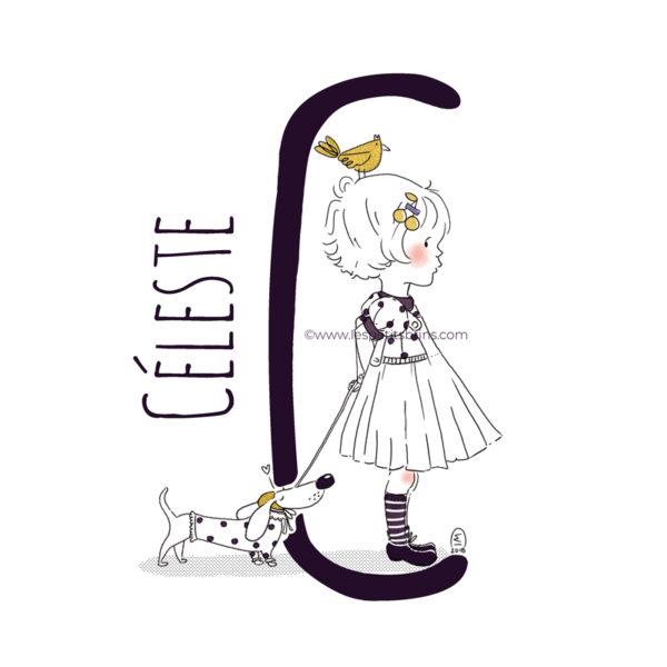 abecedaire-initiale-prenom-enfant-illustration-fille-personnalisable-noir-or